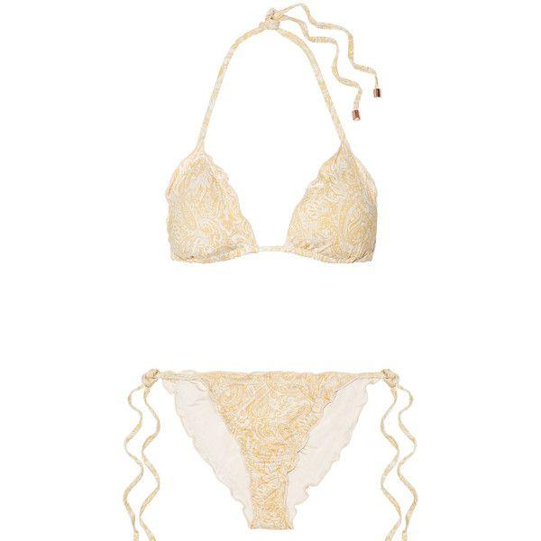 Eberjey Dakota Avalon ruffled printed triangle bikini found on Polyvore featuring swimwear, bikinis, gold, tie necktie, scrunch bikini, frill bikini, neck-tie and triangle bikinis