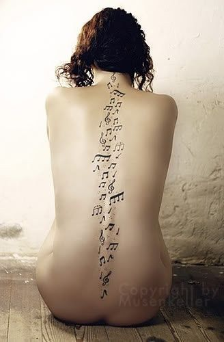musical tattoos | Beautiful Tattoos: Musical notes trailing down a womans spine