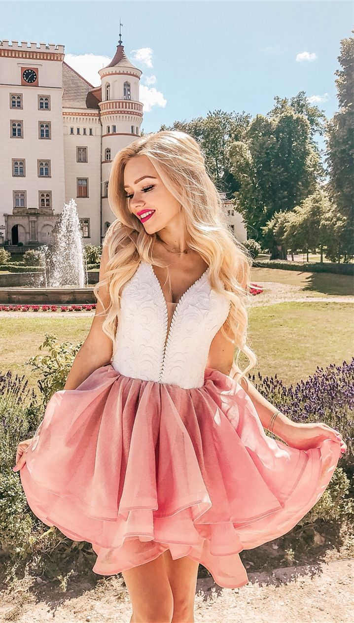 eb1818239c1 A-Line Spaghetti Straps Short Pink Tiered Homecoming Dress with Lace