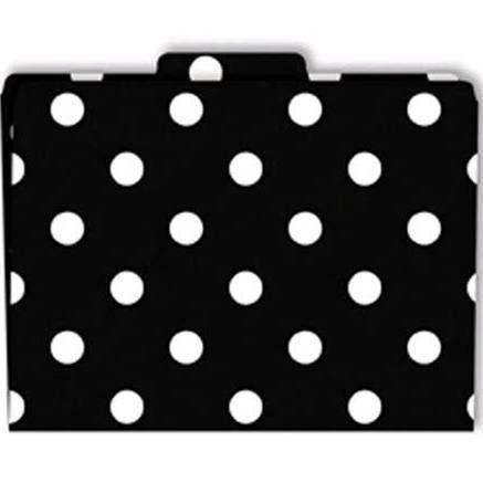 Black White Stripe Polka Dot Office Supplies Folders