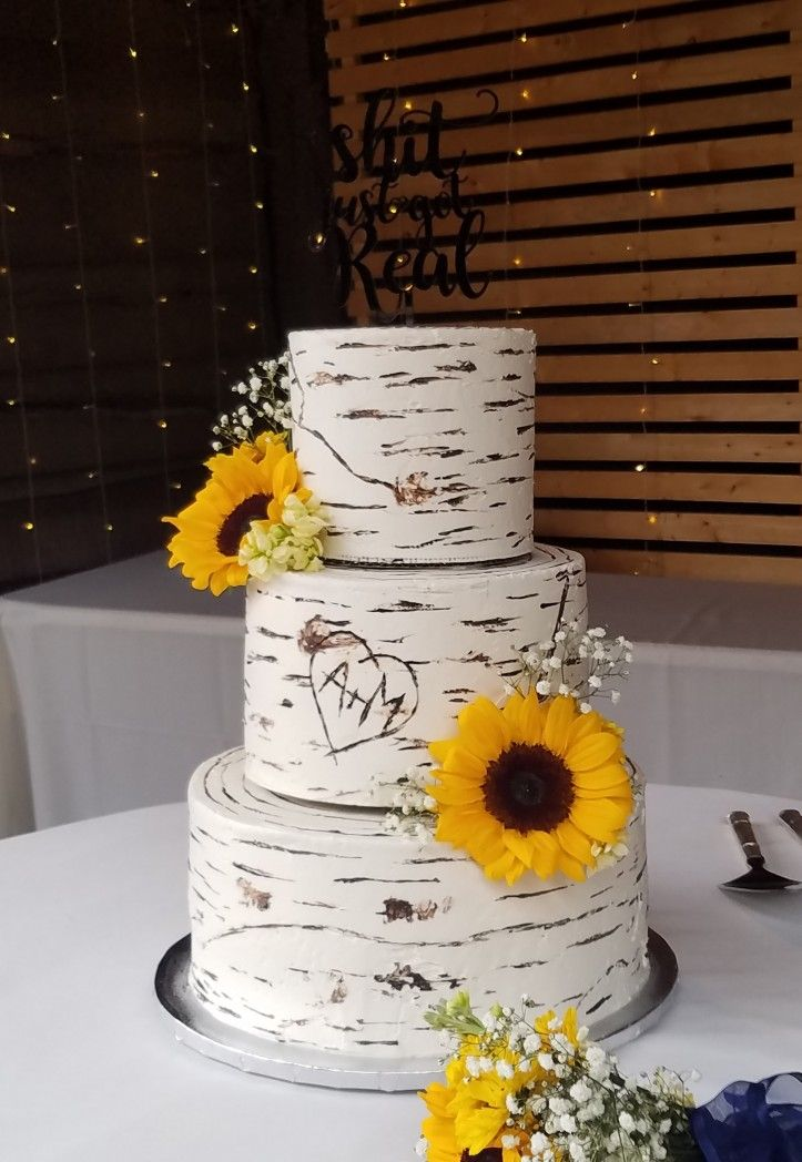 3 Tier Birch Wood Rustic Sunflowers With Images