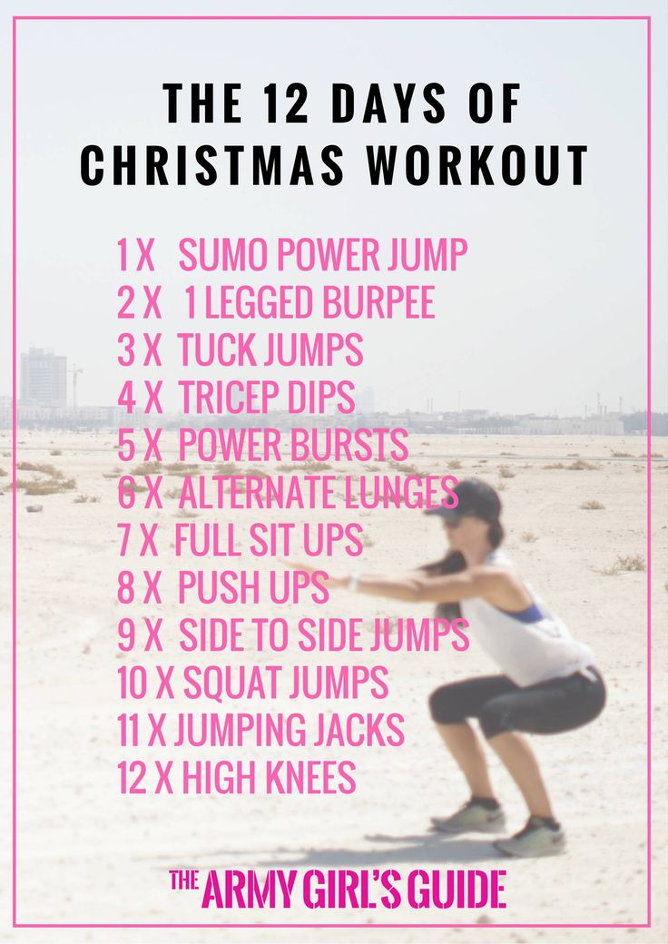 MEGA WORKOUT ALERT! Here's my 12 Days of Christmas Countdown Workout. You can do this equipment free workout anywhere, in under 20 minutes... so what are you waiting for?! – The Army Girl's Guide