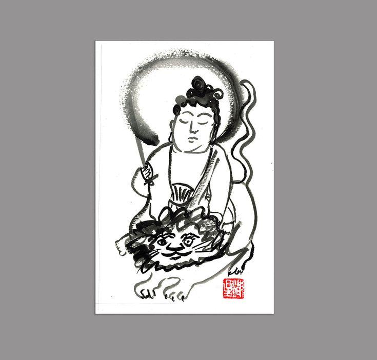 Buddha Manjusri, Monju, Buddha of Wisdom, Fine Zen Brush Art Painting Original, Buddhist art, zen illustration, zen decor, tao, japanese art by ZenBrush on Etsy