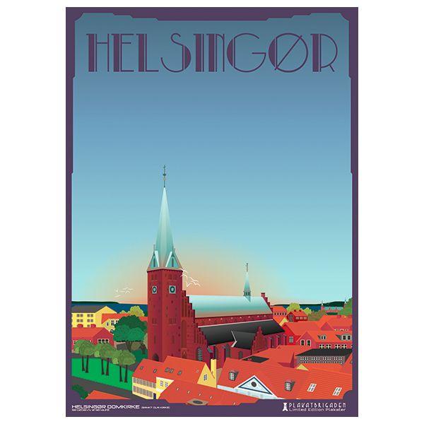 Limited edition plakat af Helsingør Domkirke/Sankt Olai Kirke.