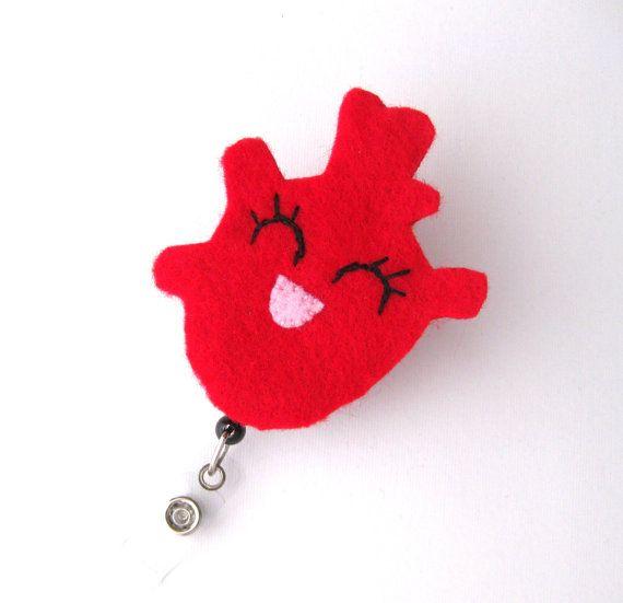 Haley Heart - Cardiac Nurse Badge Pull - Cute Badge Reels - Unique Retractable ID Badge Holder - Felt Badge Reel - RN Badge - BadgeBlooms via Etsy
