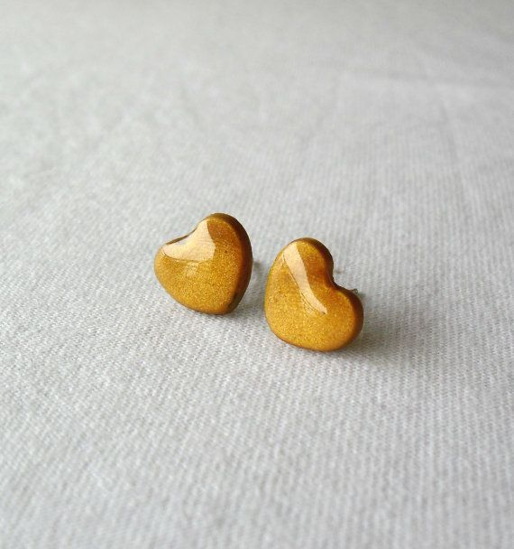 Gold heart earrings Cute polymer clay jewelry by DivineDecadance
