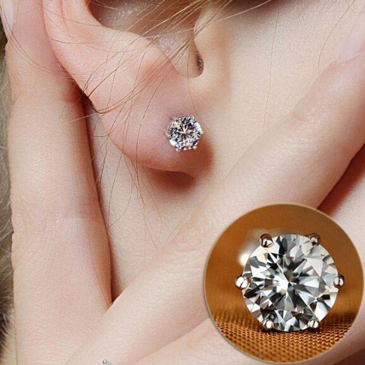 Rhinestone Crystal Silver Stud Earrings Piercing Ear Studs
