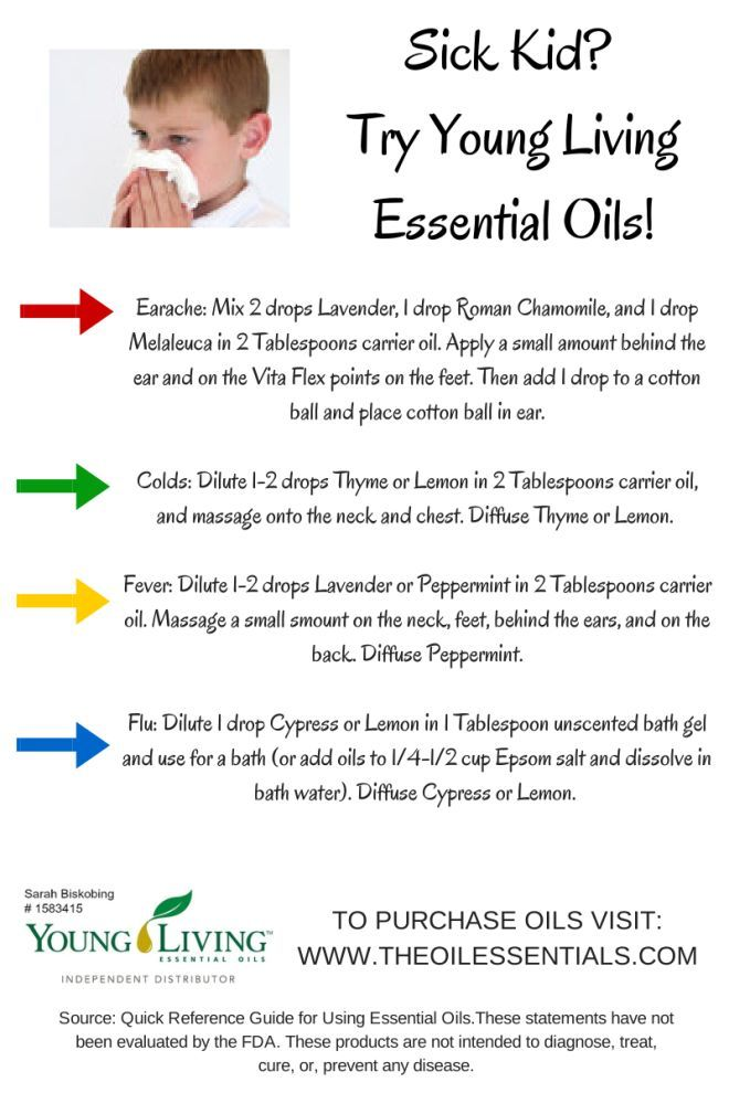 Essential oils for a sick kid's earache, cold, fever, and flu! Learn more at  http://theoilessentials.com/2014/02/20/try-essential-oils-for-a-sick-kid/
