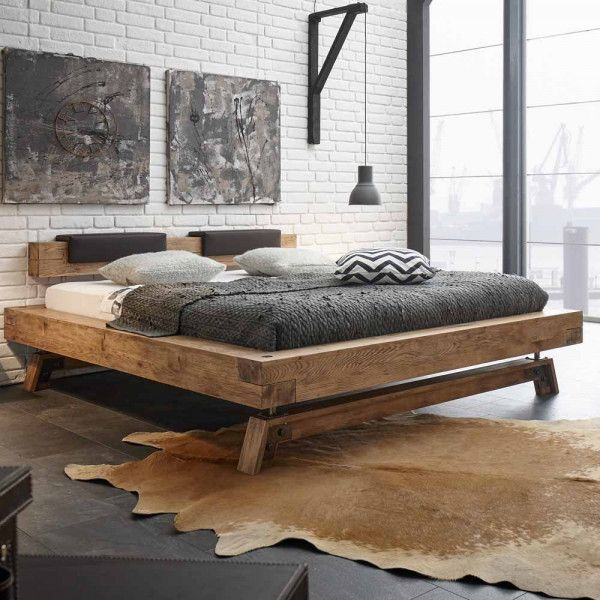 Balkenbett Villary Aus Wildeiche Massivholz In 2020 Rustikale Schlafzimmermobel Bett Mobel Schlafzimmer Einrichten