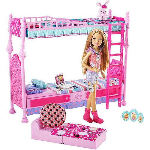 Barbie Sisters Sleeptime! Bedroom for 3 Play Set