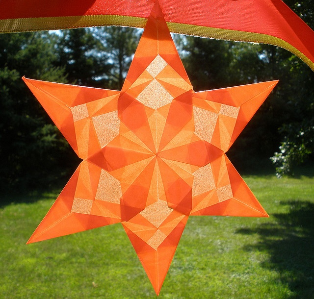 Close up of Orange Star - Part of Halloween Garland    This is one of the 5…
