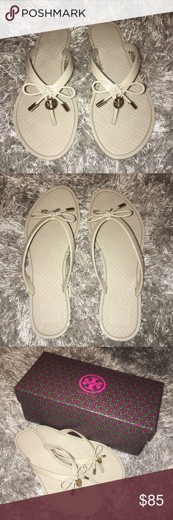 TORY BURCH JELLY FLIP FLOPS These cute little jellies are a beige/tan shade! They are brand new and never worn and come with the original box. Jellies will be wrapped and packed like brand new! The detailing on the front is a tied bow with gold details on ends and Tory Burch sign.  Prices are negotiable ✨  Please only make official offers ✨ Tory Burch Shoes Sandals