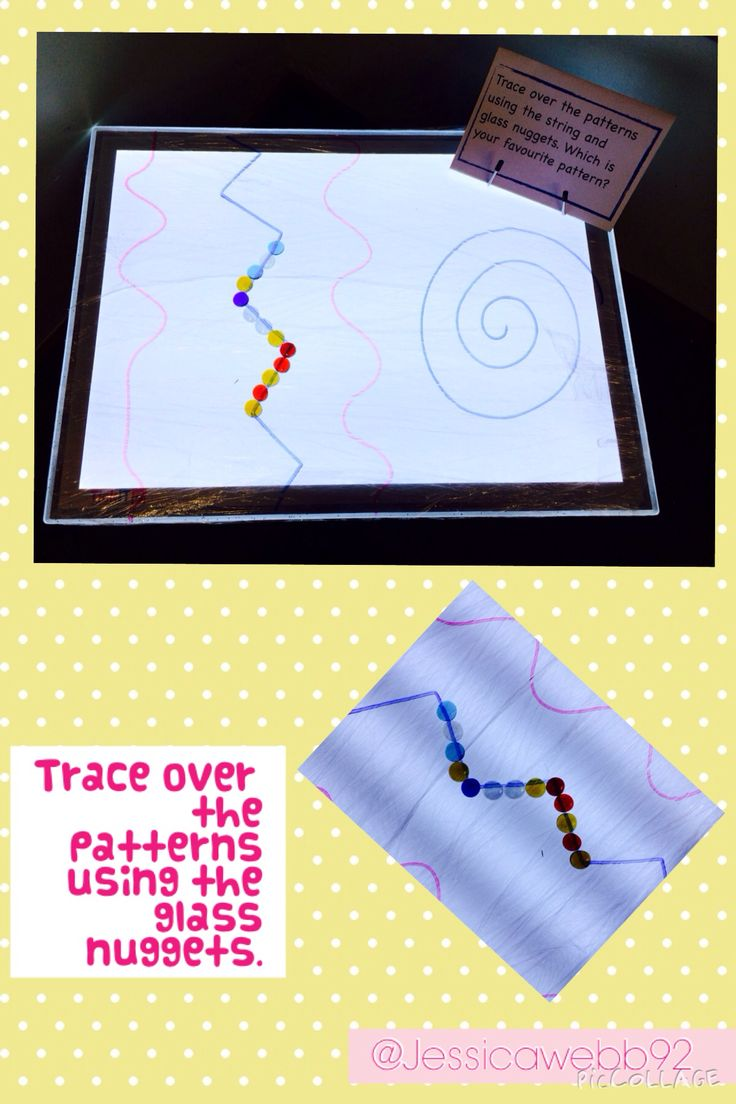 Trace over the patterns on the light table using glass nuggets and string. EYFS