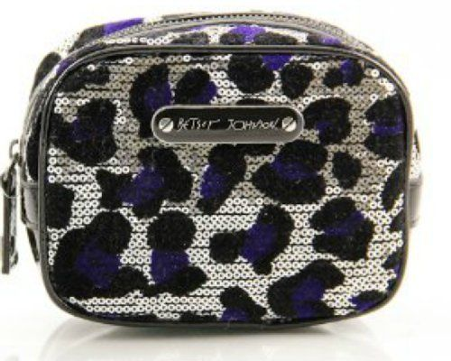 Betsey Johnson Silver Black Blue CHEETAH-LICIOUS Square Cosmetic Case Betsey Johnson. $24.95