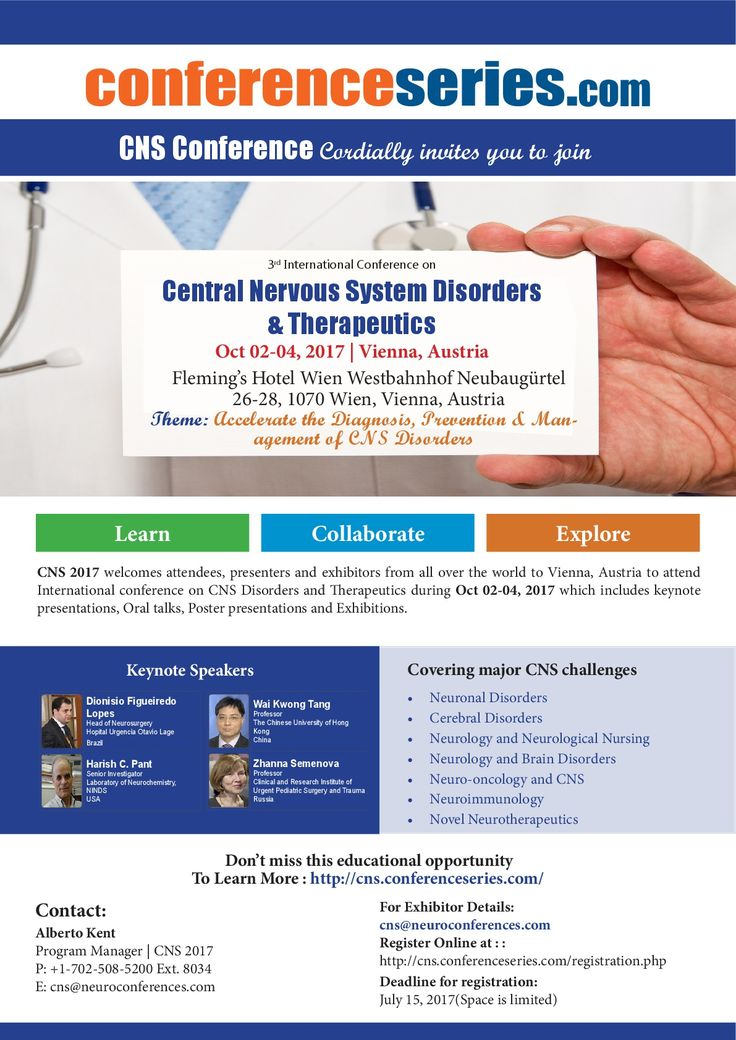 3rd International Conference on #Central_Nervous_System Disorders & #Therapeutics Oct 02-04, 2017 Vienna, Austria