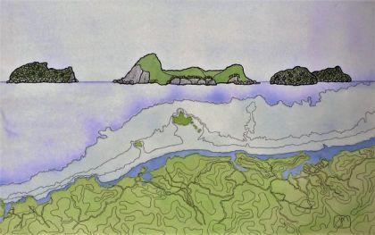 Islands - Shoe, Slipper, Penguin painting