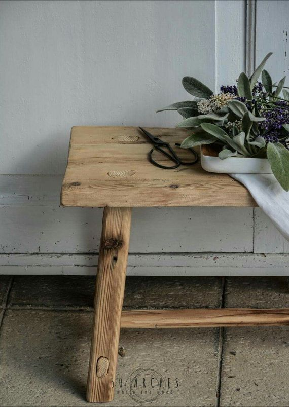 handmade wooden stool,milking,spruce barn wood,bathroom furniture,bedside table,old wood,boho, bohemian,raw,french coffee side table