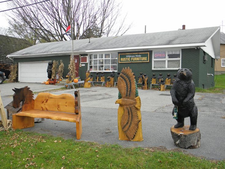 Chainsaw carvings at wilderness works rustic furniture rt