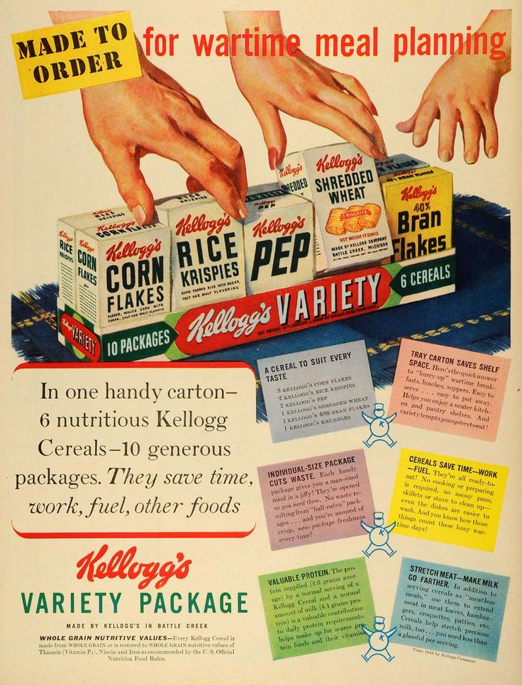 182 best wwii recipes ration food images on pinterest recipes kelloggs variety package breakfast cereal wwii wartime food rationing nutritional values applying this variety concept to todays day and age forumfinder Gallery