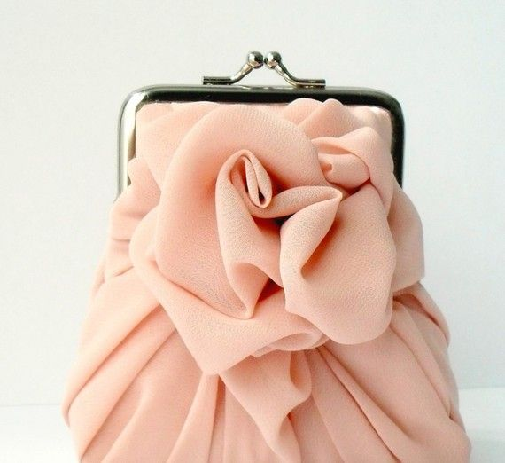 chiffon rose purse clutch
