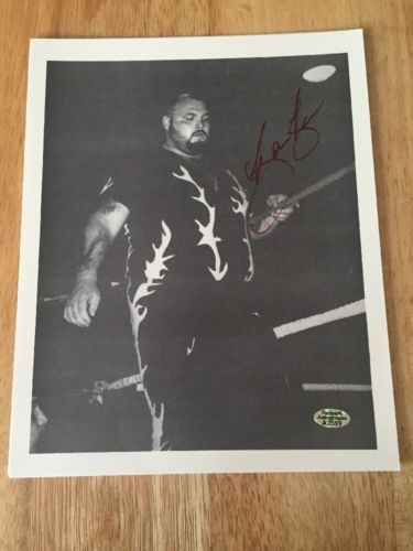 BAM BAM BIGELOW (Died 2007) Signed 8x10 Photo WWE WCW ECW With Hologram COA