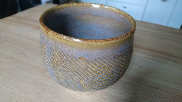 Teabowl, padded and expanded; glazed with Caramel Candy; recipe in Simon Leach's Pottery Handbook