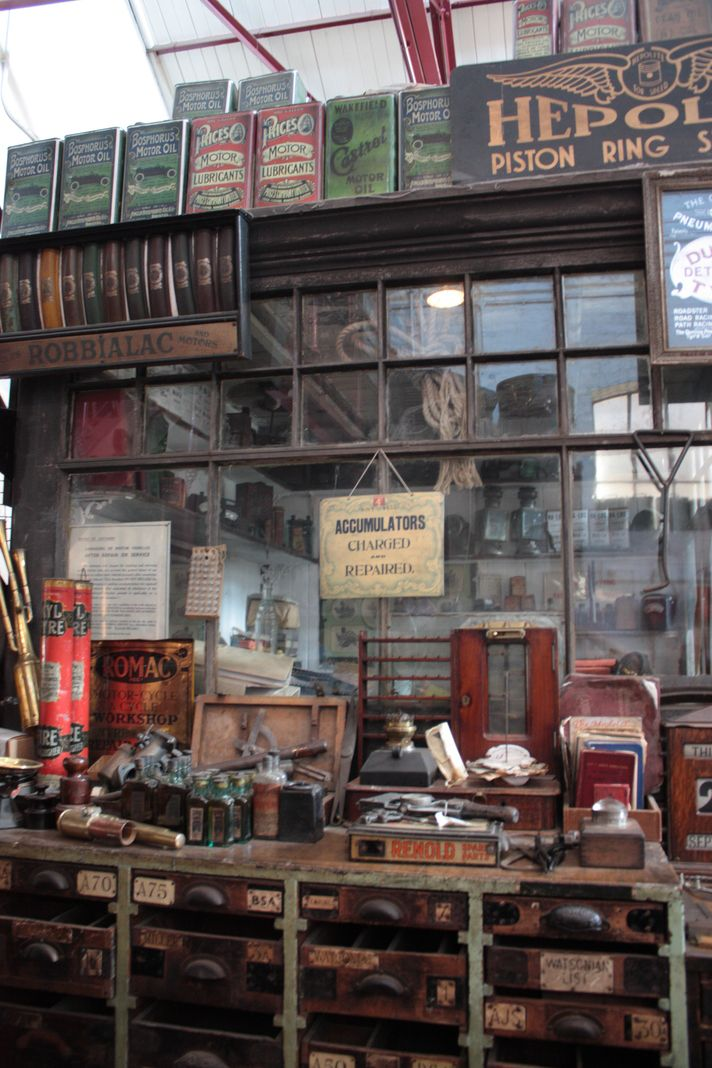 The garage at Beamish's 1900s town, stocked with all manner of period automotive supplies.