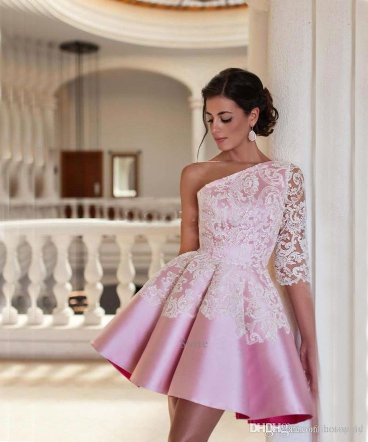 2016 Cheap Cocktail Dresses One Shoulder Newest Satin Lace Applique A Line Pleats Short Homecoming Dresses Prom Party Gowns Custom Made Long Sleeved Cocktail Dresses Online Formal Dresses From Hot Wind, $113.99| Dhgate.Com