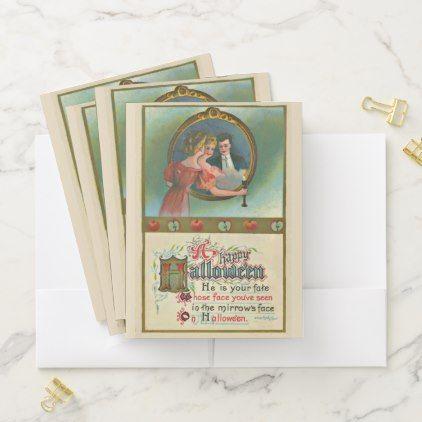 Vintage Halloween Romantic Humor Pocket Folder - Halloween happyhalloween festival party holiday