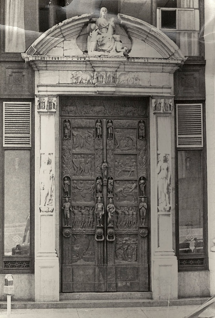Because of Boston's long history with the China trade, Salada Tea had its headquarters in Boston on St. James St. These ornately carved doors show every stage of the growth and production of tea in India and China. The doors are in concrete and bronze, carved with elephants and trees and servants boxing tea. It is a lost treasure visible to everyone.