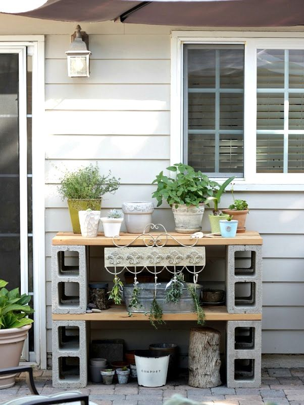 Easy cinder block potting bench, by Home Work, featured on Funky Junk Interiors
