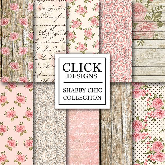 "Shabby Chic Digital Paper: ""WOOD & LACE ROMANTIC"" Floral romantic scrapbooking papers with roses, in pink, beige for wedding invites, carts"