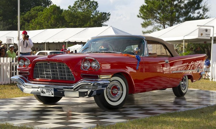 1957 Chrysler 300 C Convertible owned by John and Lynne Cote of Guilford, Conn., named Most Outstanding Post 1948 car.  Photo by Roger Hart.