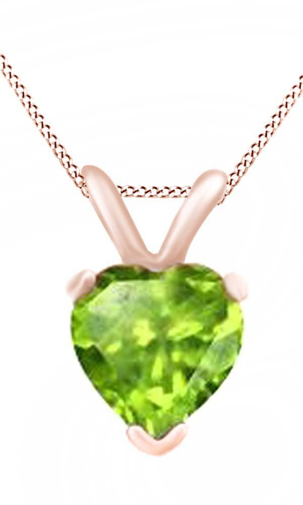 Heart Cut Solitaire Peridot August Birthstone Pendant Necklace In 10K Rose Gold (4 Cttw). Adds A Touch Of Nature-Inspired Beauty To Your Look Heart Cut Solitaire Pendant Necklace In 10K Rose Gold Makes a Standout Addition to Your Collection with 4 Carat August Birthstone Peridot. Gold is a dense, soft, shiny, malleable, and ductile metal, Gold is a synonym for wealth and money even though in the modern world it is neither. Perfect gift idea for Christmas, party, wedding, engagement...