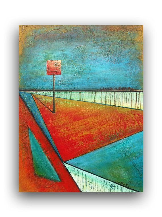 SALE  Surreal Abstract Landscape Painting 18 x 24 by ThereseArt, $150.00