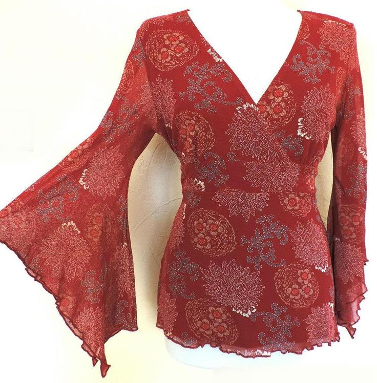QUIRKY RED TOP FLARED FLOATY KIMONO SLEEVES SHABBY CHIC BOHO HIPPIE ROMANTIC 14