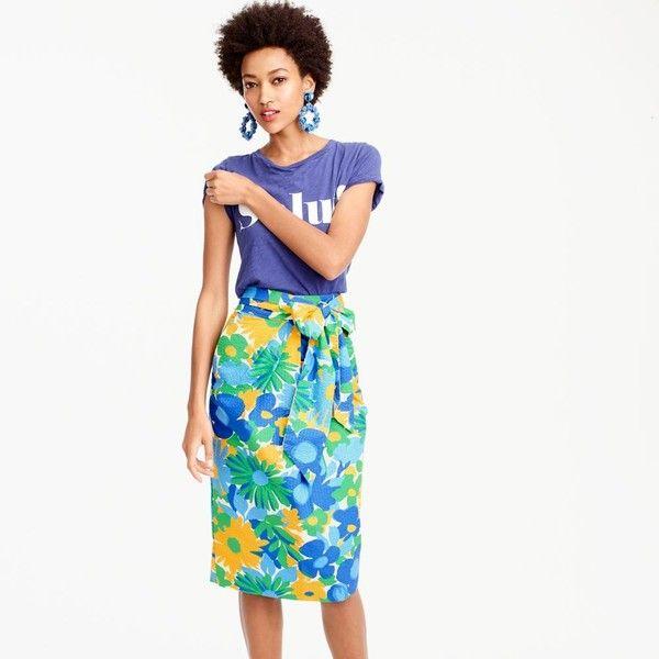 J.Crew Tie-Waist Skirt ($125) via Polyvore featuring skirts, long waist skirts, white floral skirt, cotton skirts, tie-dye skirt and long cotton skirts