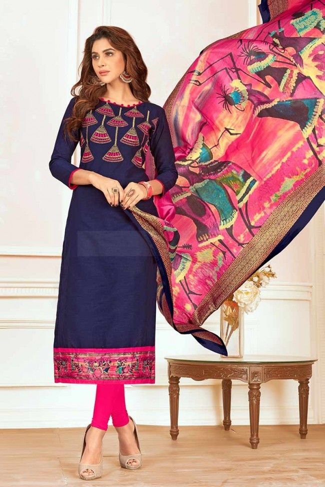 Costume Coton Couleur Bleu Churidar In 2019 Salwar Kameez Femme