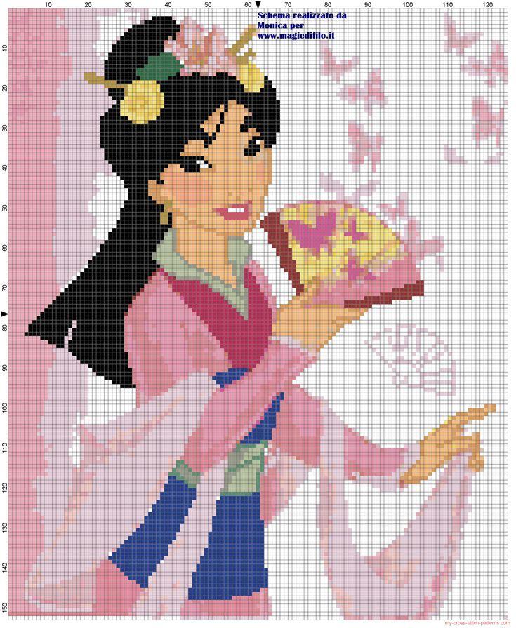 Mulan cross stitch pattern