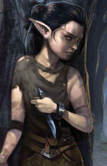 Female elf gnome dagger young thief peasant NPC