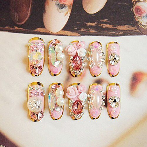 4246 best wedding nails for bride images on pinterest nail visit to buy wedding nails pretty princess pink style long false nails high quality rhinestones bride nail art tips with golden sides prinsesfo Choice Image