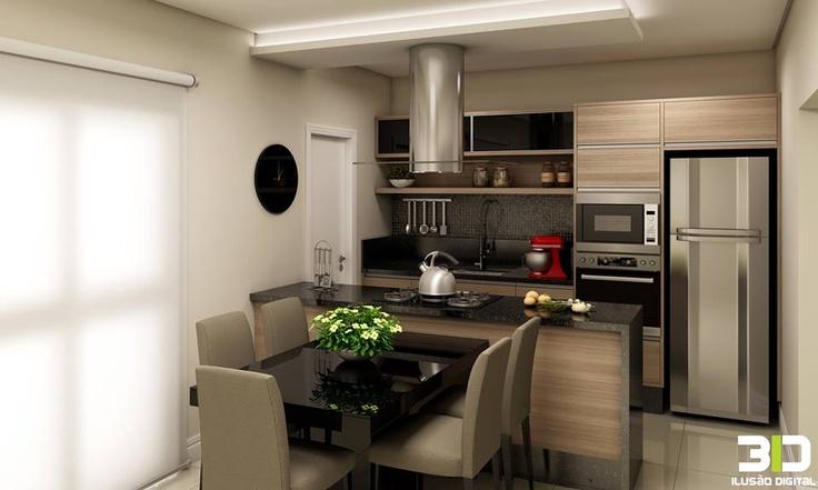 Sala De Jantar E Cozinha Conjugada ~ integração Cozinha e Sala de jantar com ilha com cooktop  areas
