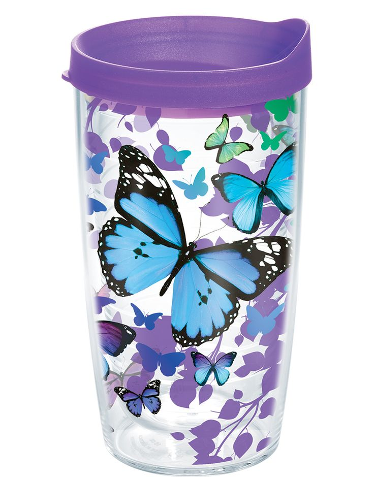 You'll get butterflies every time you sip from this blue and lavender Tervis tumbler design complete with matching travel lid.