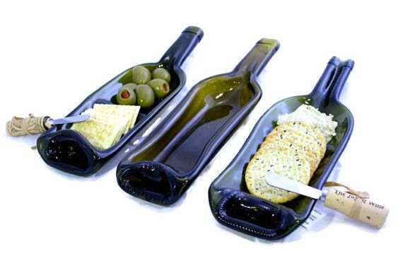 Melted Wine Bottle Glass Serving Dish  3 Different by Rehabulous, $20.99