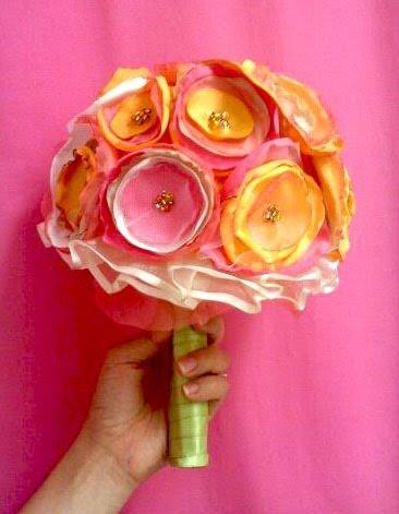 Fabric flower wedding bouquet