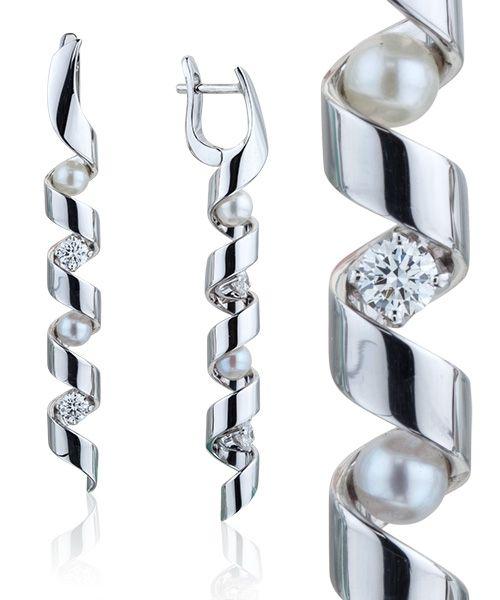 Серьги с бриллиантами и жемчугом в интернет магазине PIERRE #PIERRE…