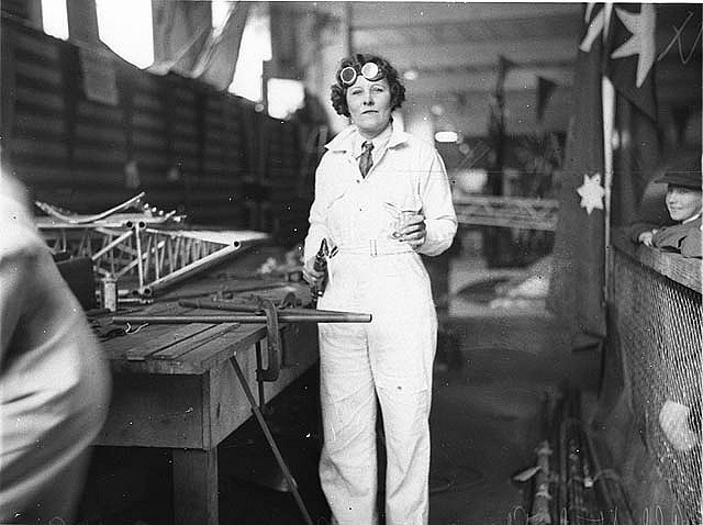 May Bradford welding part of the all Australian monoplane for the England-Australia air race, 1934 / photographed by Sam Hood by State Library of New South Wales collection, via Flickr