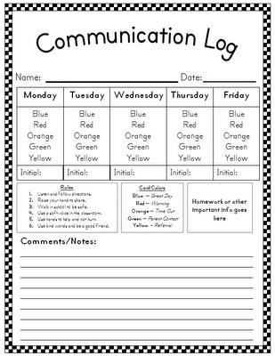 Communication Log! Book of Ra: Kindergarten Behavior, Communication Logs, Behavior Charts, Linki Parties, Aloha Kindergarten, Behavior Communication, Week Behavior, Behavior Plans, Classroom Management