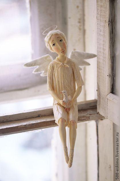 Коллекционные куклы ручной работы: Ангел с птичкой. Handmade.