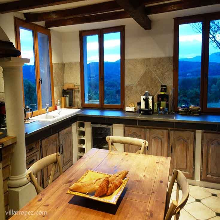 Provence-style eat in kitchen, with panoramic views of the St Tropez valley.  A popular kitchen for filming, & location shoots for cookbooks etc. Or a perfect room to host a cooking or nutritional health retreat in. www.villatropez.com